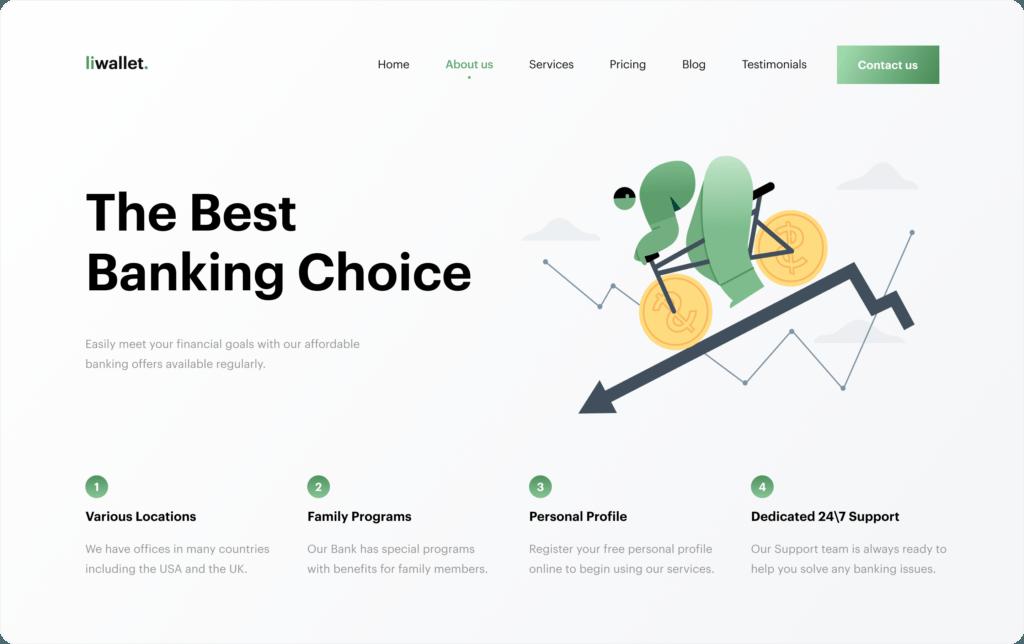 finatech landing page advantages